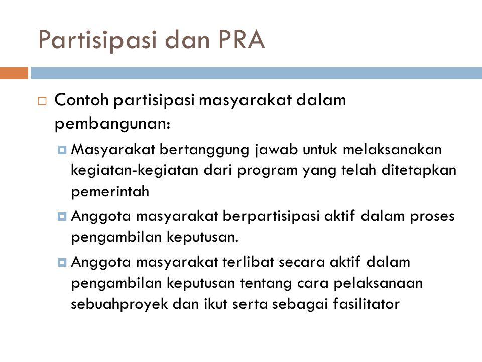 Partisipasi dan PRA Contoh partisipasi masyarakat dalam pembangunan: