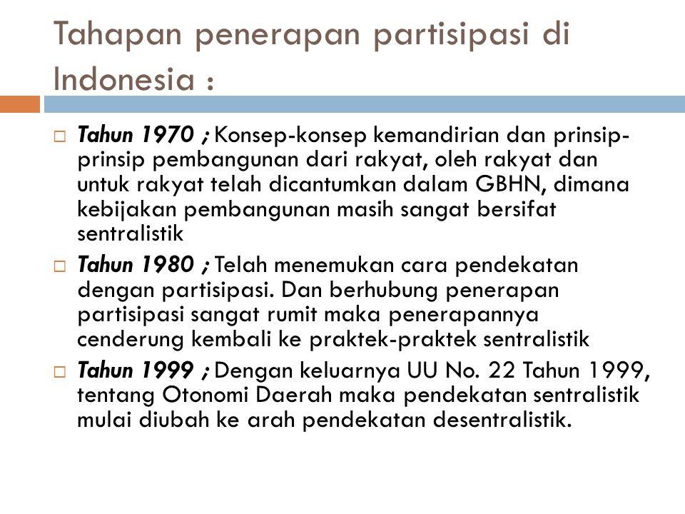 Tahapan penerapan partisipasi di Indonesia :