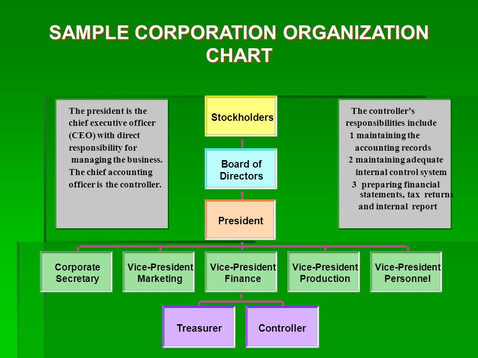 SAMPLE CORPORATION ORGANIZATION CHART