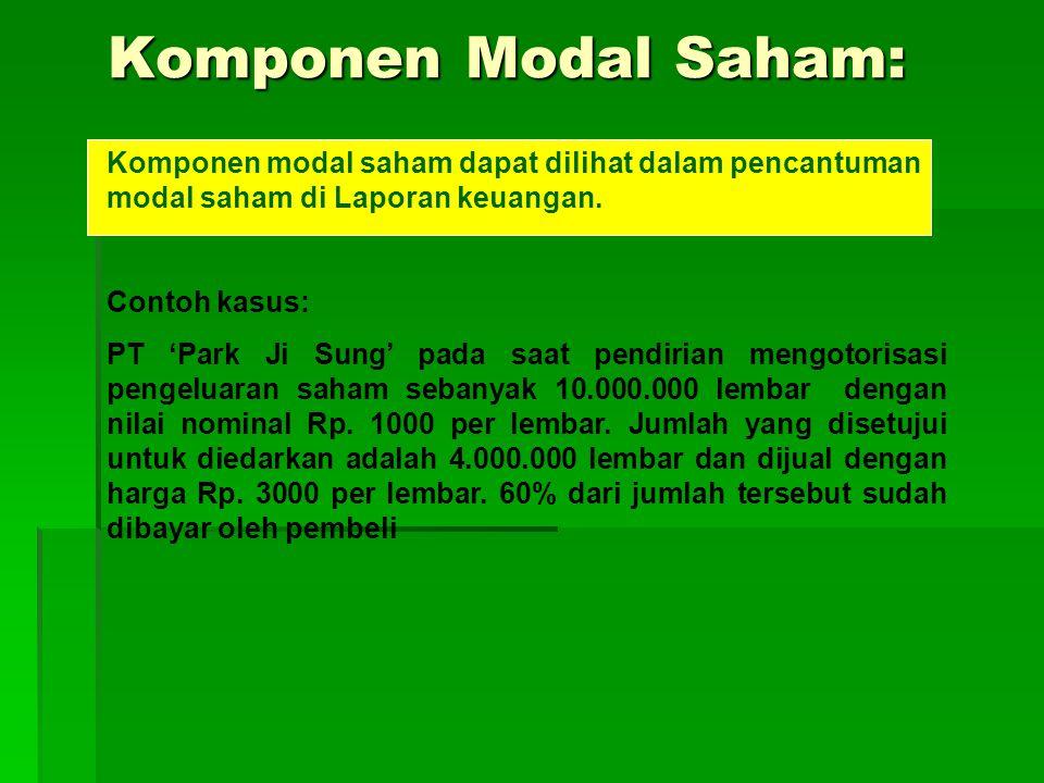 Komponen Modal Saham: Komponen modal saham dapat dilihat dalam pencantuman modal saham di Laporan keuangan.