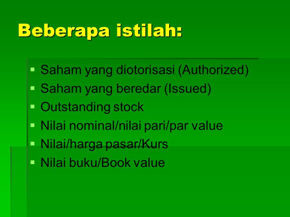 Beberapa istilah: Saham yang diotorisasi (Authorized)