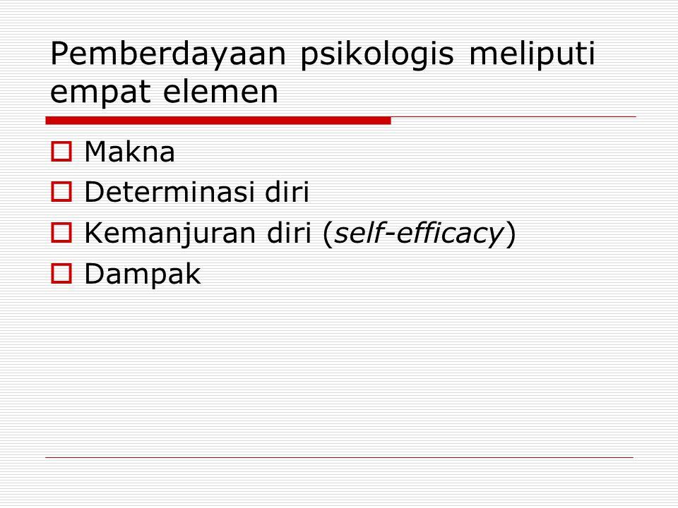 Pemberdayaan psikologis meliputi empat elemen
