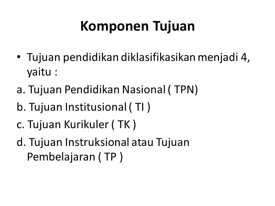 Komponen Tujuan Tujuan pendidikan diklasifikasikan menjadi 4, yaitu :