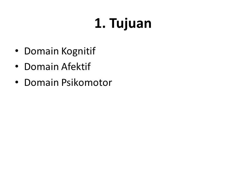 1. Tujuan Domain Kognitif Domain Afektif Domain Psikomotor