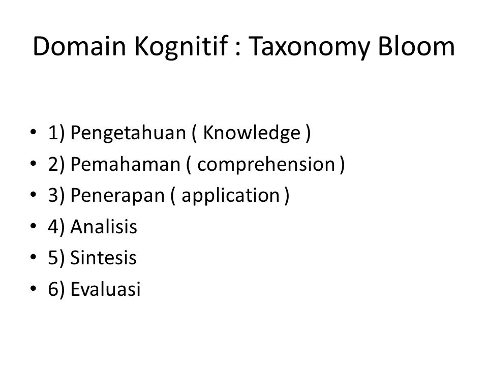 Domain Kognitif : Taxonomy Bloom