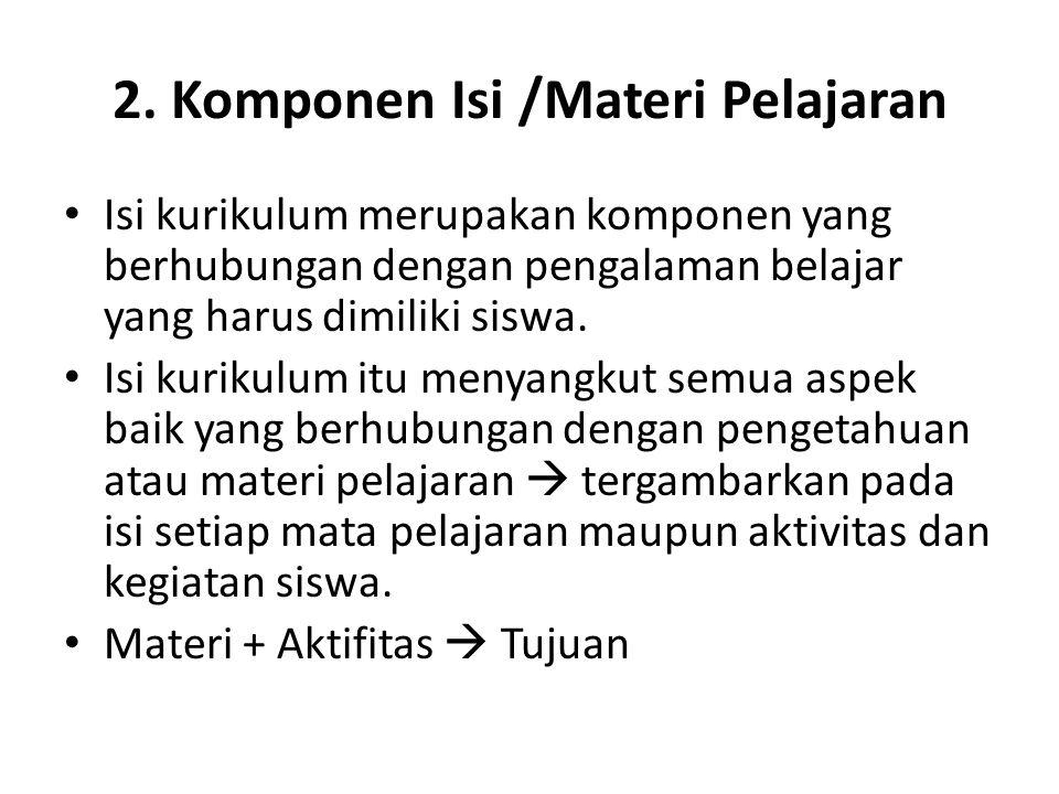 2. Komponen Isi /Materi Pelajaran
