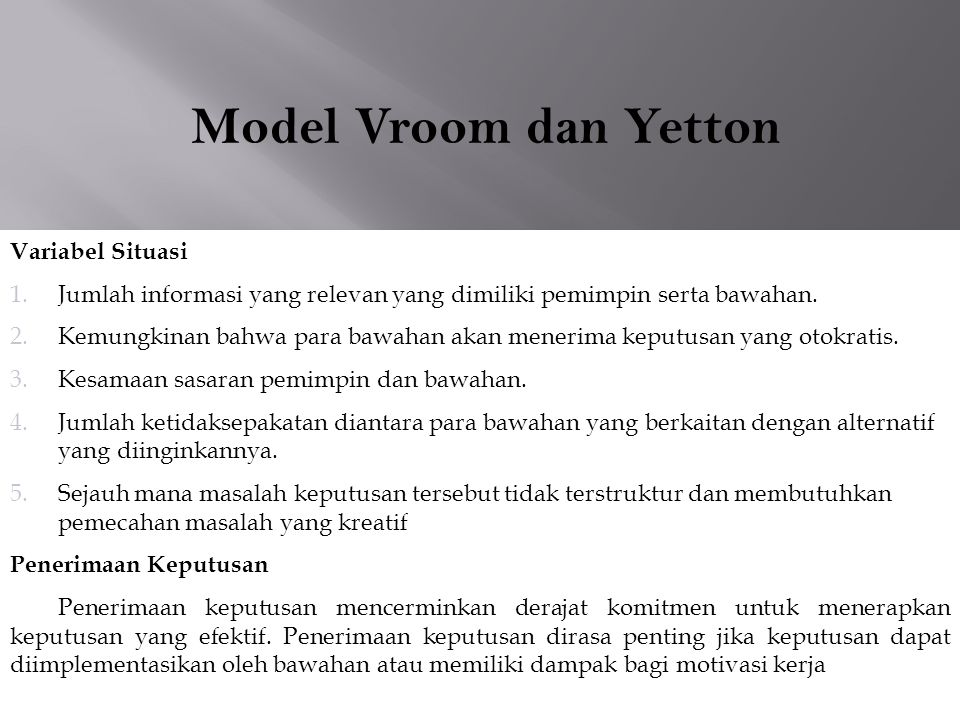 Model Vroom dan Yetton Variabel Situasi