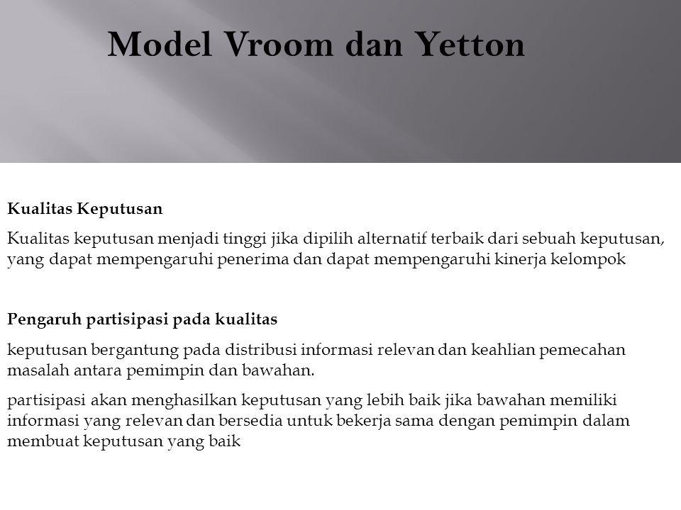 Model Vroom dan Yetton Kualitas Keputusan