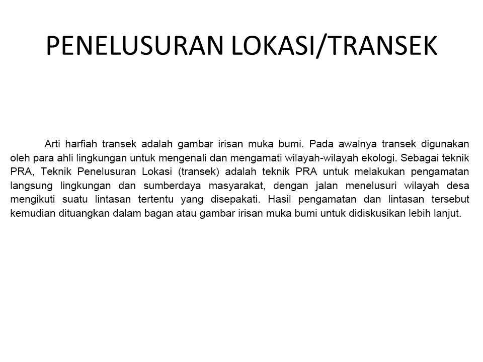 PENELUSURAN LOKASI/TRANSEK