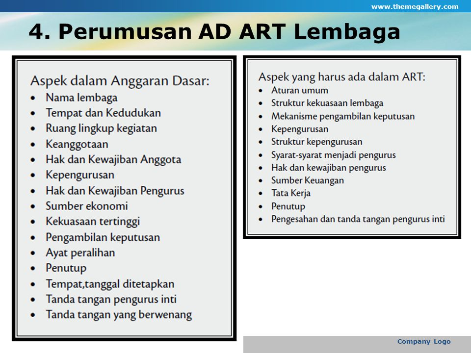 4. Perumusan AD ART Lembaga