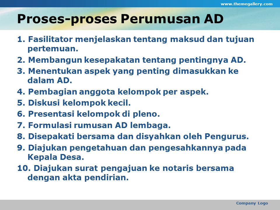 Proses-proses Perumusan AD