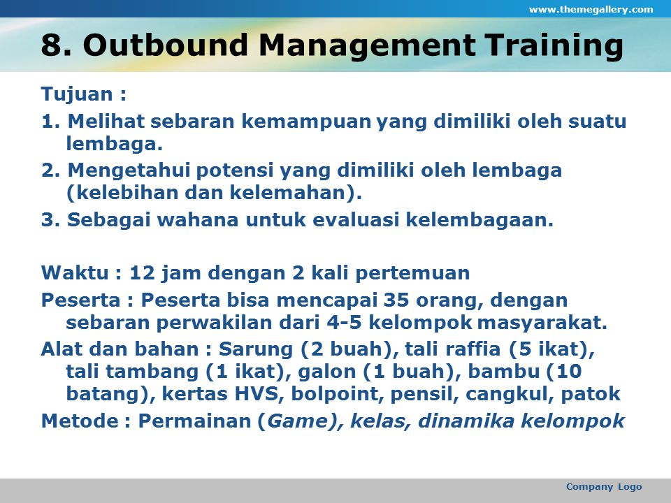 8. Outbound Management Training