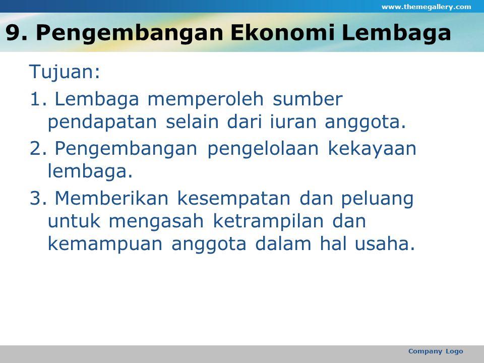 9. Pengembangan Ekonomi Lembaga