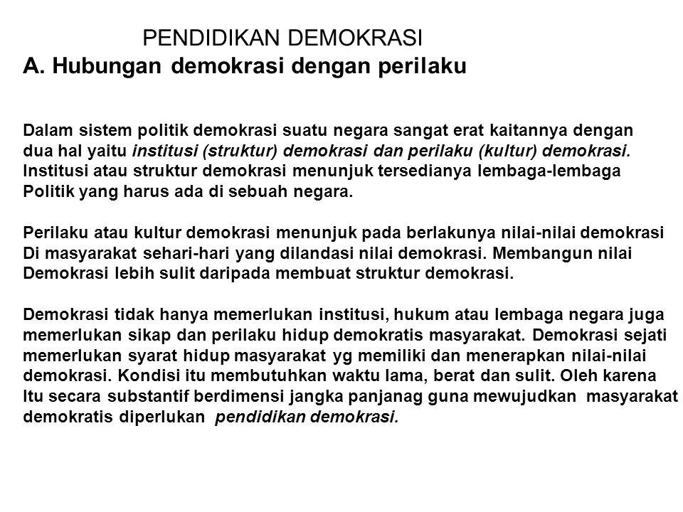 A. Hubungan demokrasi dengan perilaku