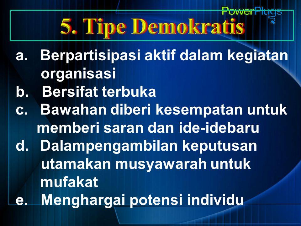 5. Tipe Demokratis Berpartisipasi aktif dalam kegiatan organisasi