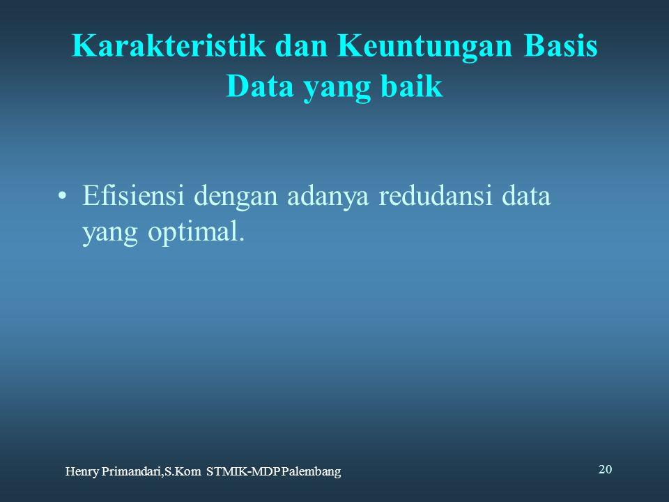 Karakteristik dan Keuntungan Basis Data yang baik