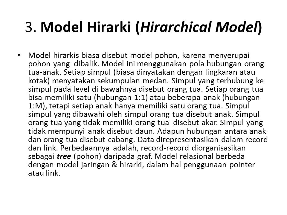 3. Model Hirarki (Hirarchical Model)