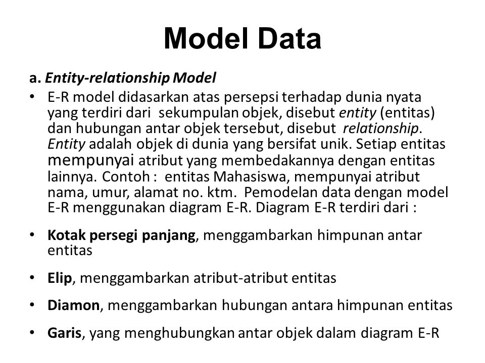 Model Data a. Entity-relationship Model