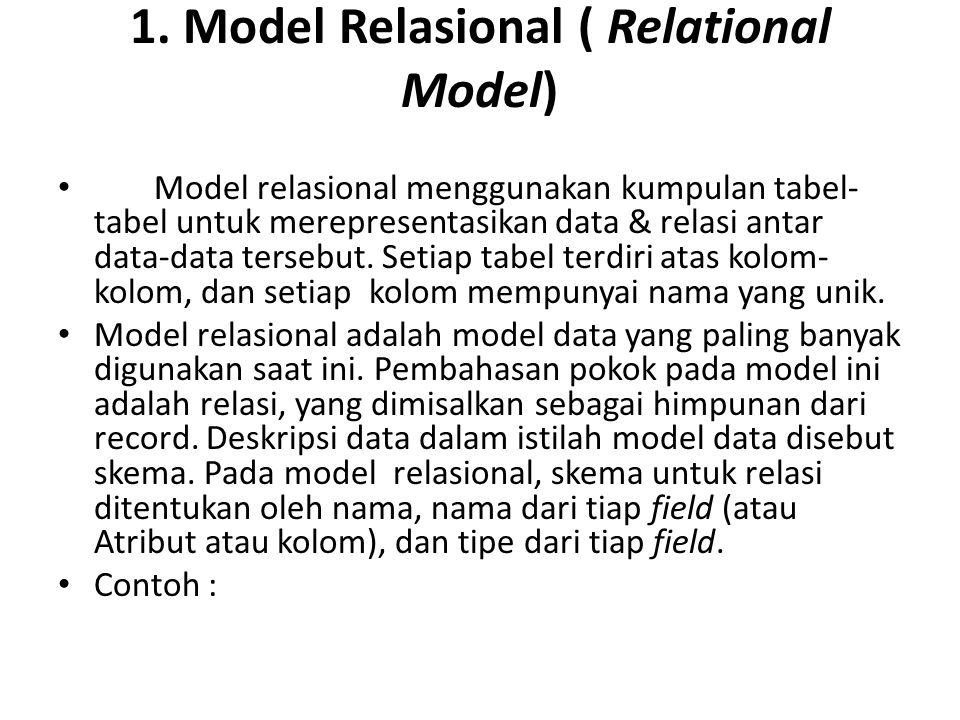 1. Model Relasional ( Relational Model)
