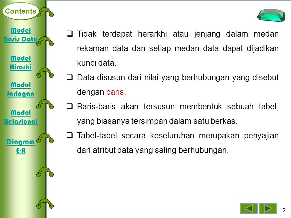 Data disusun dari nilai yang berhubungan yang disebut dengan baris.
