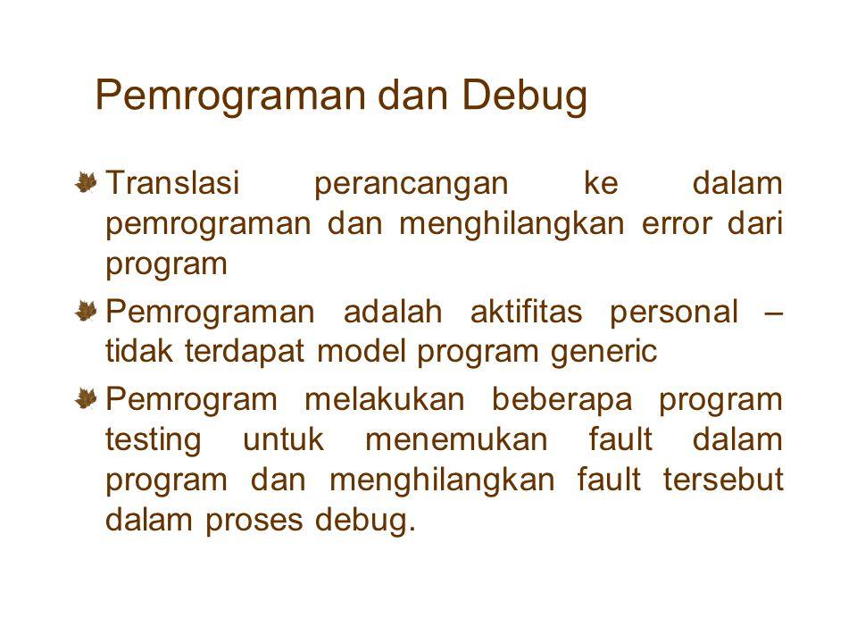 Pemrograman dan Debug Translasi perancangan ke dalam pemrograman dan menghilangkan error dari program.