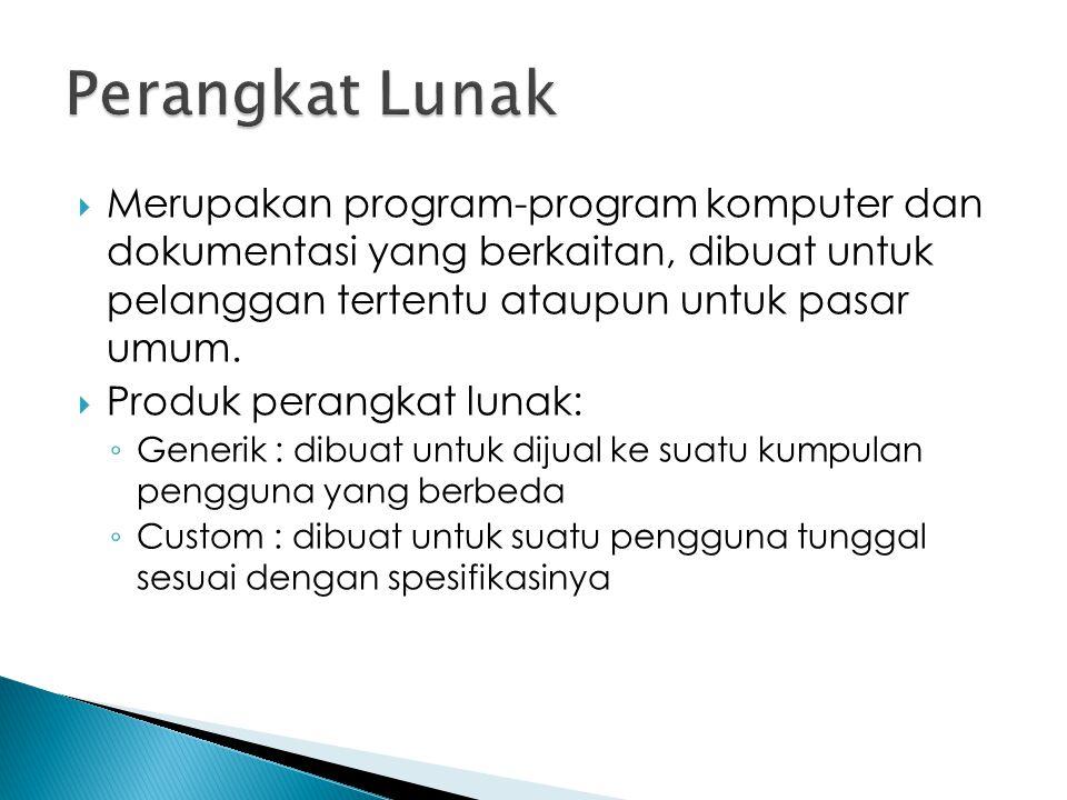 Perangkat Lunak Merupakan program-program komputer dan dokumentasi yang berkaitan, dibuat untuk pelanggan tertentu ataupun untuk pasar umum.