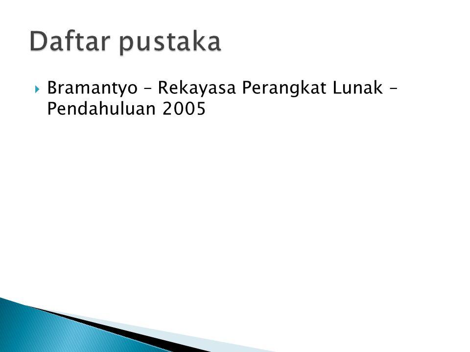 Daftar pustaka Bramantyo – Rekayasa Perangkat Lunak – Pendahuluan 2005