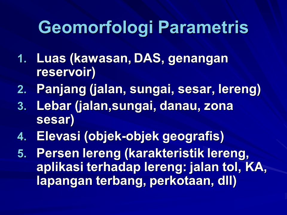 Geomorfologi Parametris