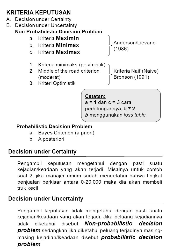 Decision under Certainty