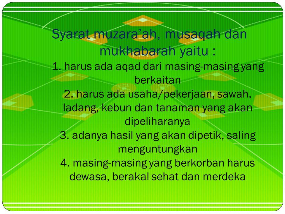 Syarat muzara'ah, musaqah dan mukhabarah yaitu : 1