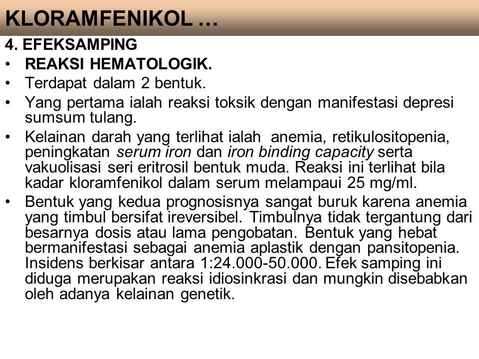 KLORAMFENIKOL … 4. EFEKSAMPING REAKSI HEMATOLOGIK.