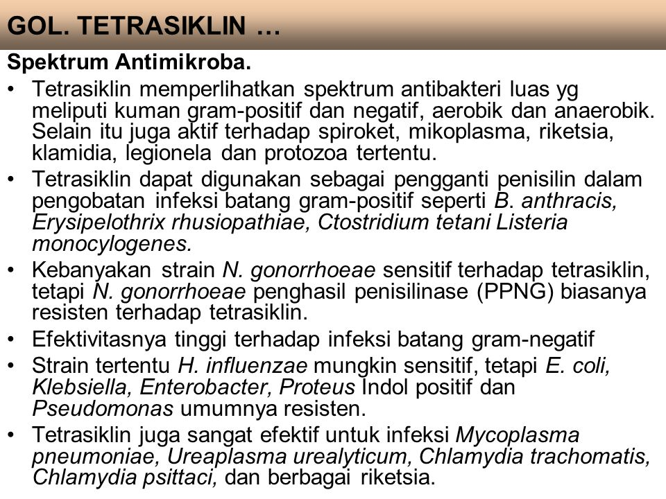 GOL. TETRASIKLIN … Spektrum Antimikroba.