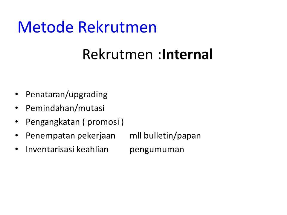 Metode Rekrutmen Rekrutmen :Internal Penataran/upgrading