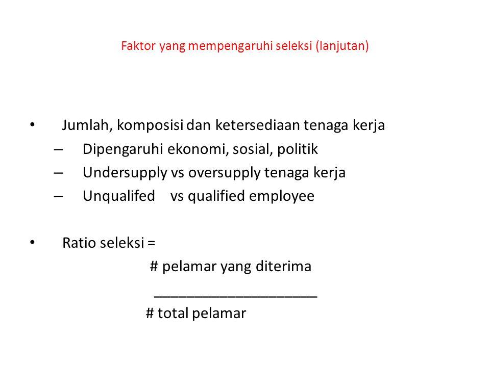 Faktor yang mempengaruhi seleksi (lanjutan)