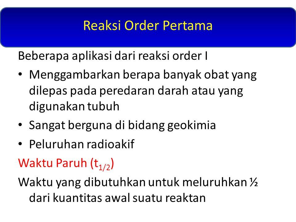 Reaksi Order Pertama Beberapa aplikasi dari reaksi order I