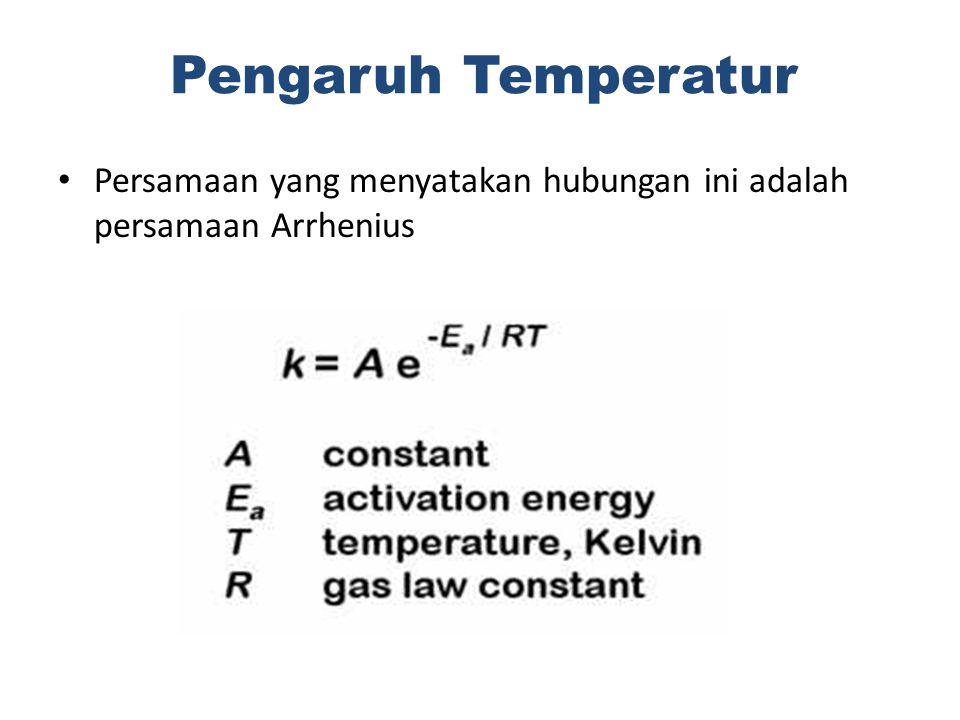 Pengaruh Temperatur Persamaan yang menyatakan hubungan ini adalah persamaan Arrhenius
