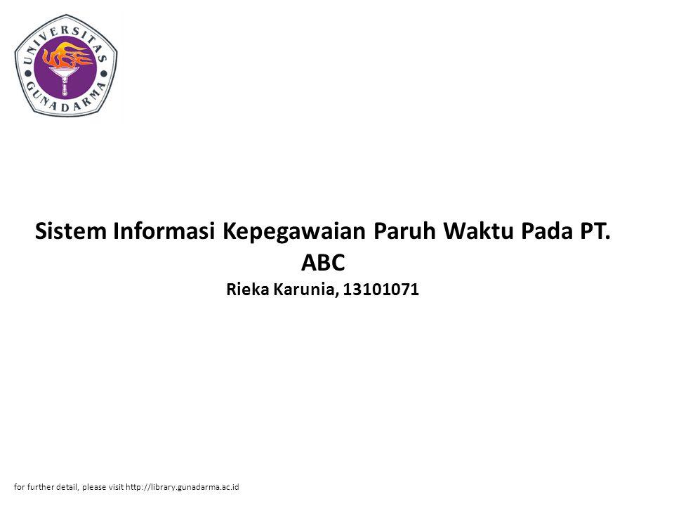 Sistem Informasi Kepegawaian Paruh Waktu Pada PT