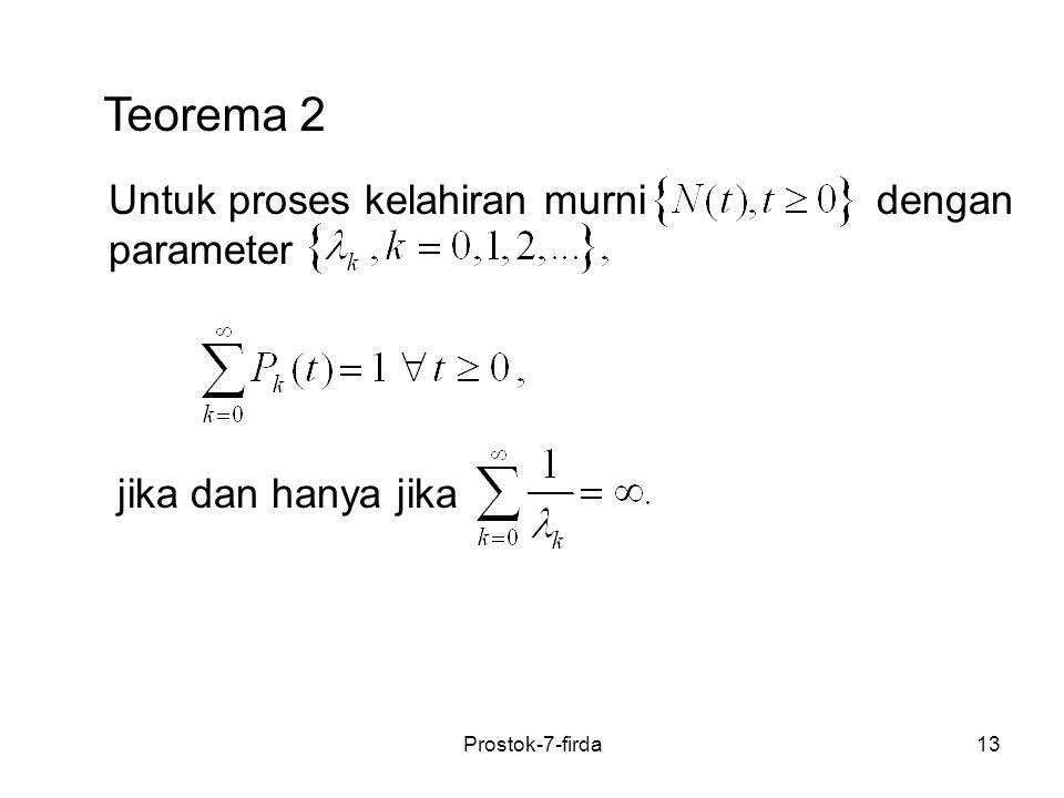 Teorema 2 Untuk proses kelahiran murni dengan parameter