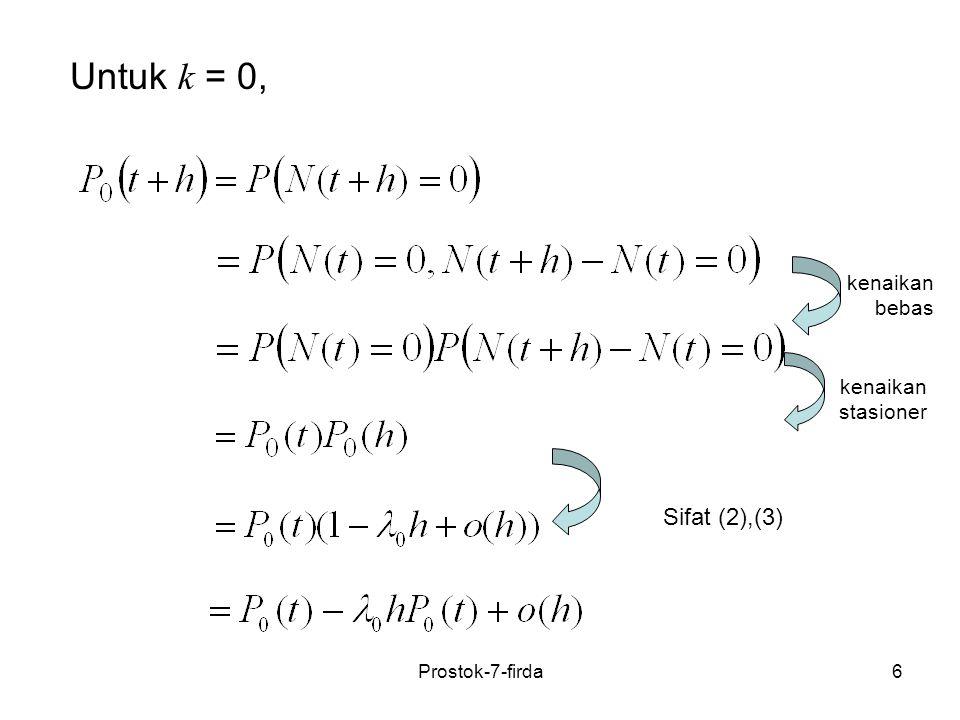 Untuk k = 0, Sifat (2),(3) kenaikan bebas kenaikan stasioner