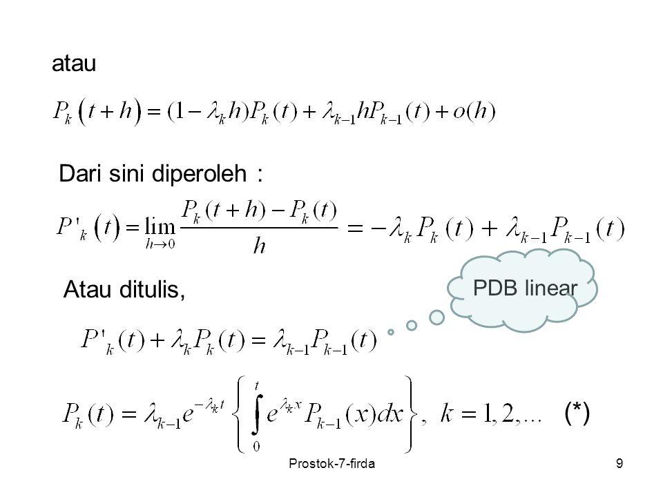 (*) atau Dari sini diperoleh : Atau ditulis, PDB linear