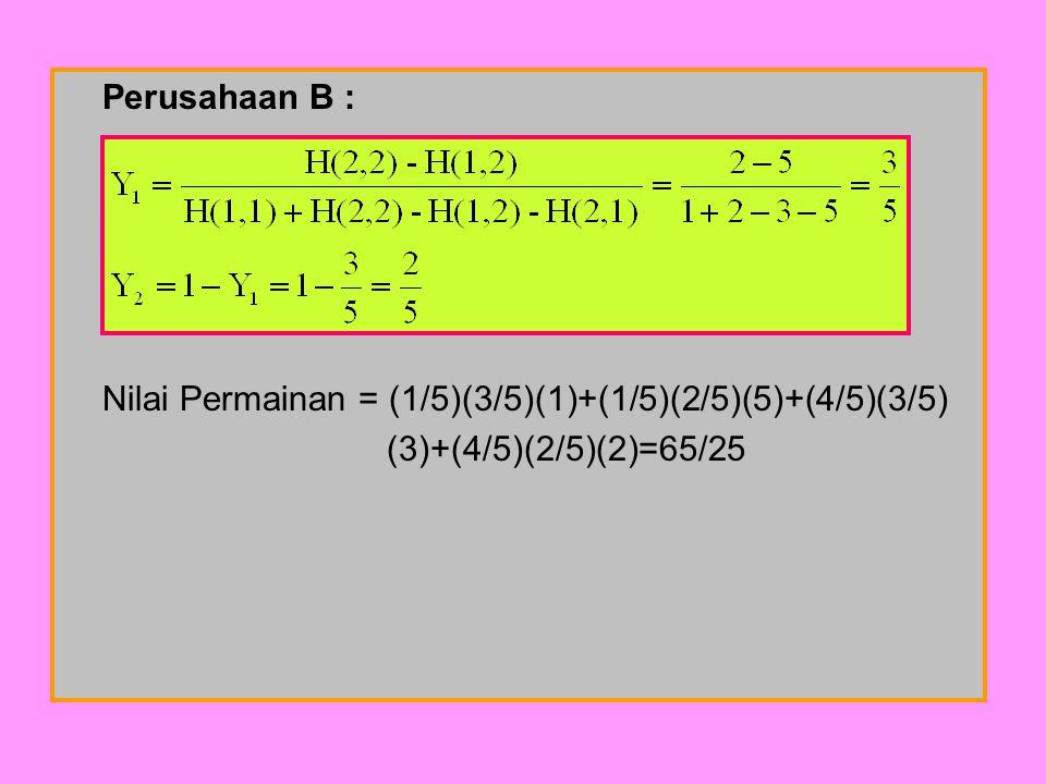 Nilai Permainan = (1/5)(3/5)(1)+(1/5)(2/5)(5)+(4/5)(3/5)