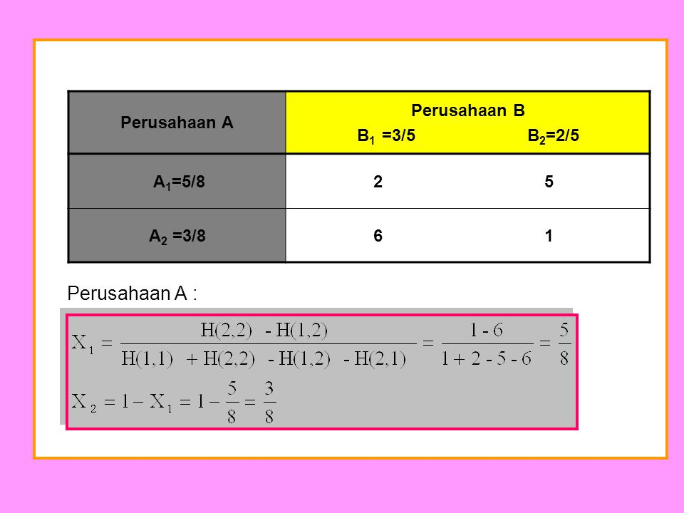 Perusahaan A : Perusahaan A Perusahaan B B1 =3/5 B2=2/5 A1=5/8 2 5