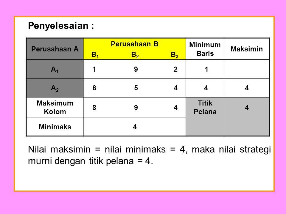 Penyelesaian : Nilai maksimin = nilai minimaks = 4, maka nilai strategi murni dengan titik pelana = 4.