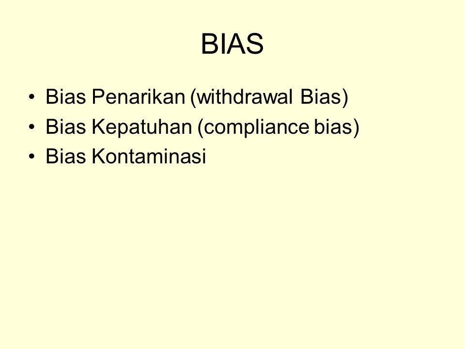 BIAS Bias Penarikan (withdrawal Bias) Bias Kepatuhan (compliance bias)