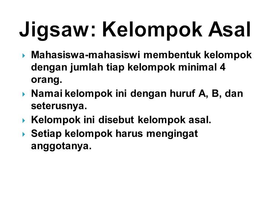 Jigsaw: Kelompok Asal Mahasiswa-mahasiswi membentuk kelompok dengan jumlah tiap kelompok minimal 4 orang.