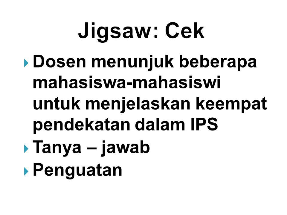 Jigsaw: Cek Dosen menunjuk beberapa mahasiswa-mahasiswi untuk menjelaskan keempat pendekatan dalam IPS.