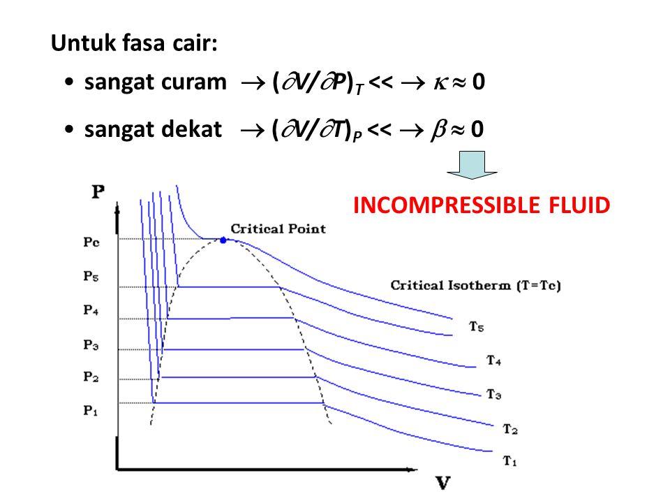 Untuk fasa cair: sangat curam  (V/P)T <<    0.