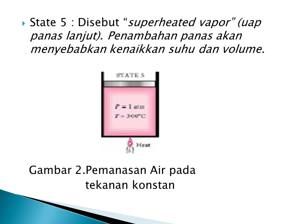 State 5 : Disebut superheated vapor (uap panas lanjut)
