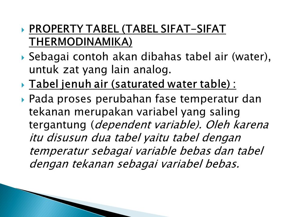 PROPERTY TABEL (TABEL SIFAT-SIFAT THERMODINAMIKA)