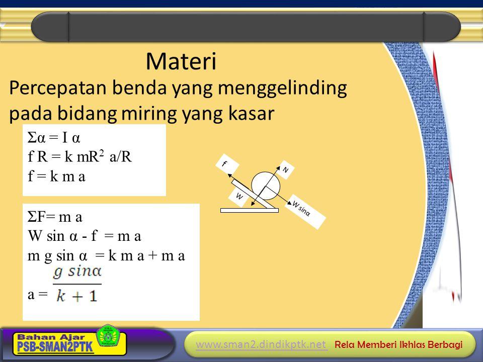 Materi Percepatan benda yang menggelinding pada bidang miring yang kasar Σα = I α. f R = k mR2 a/R.